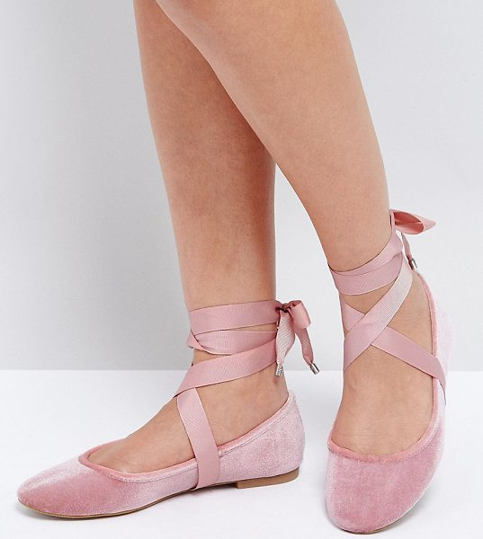 Asos LORITA Ballet Flats in pink - Flat shoes by ASOS Collection, Textile upper, Slip-on...