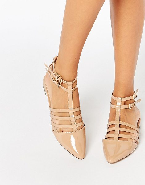 Asos LOS ANGELES Pointed Caged Ballet Flats in beige - Flat shoes by ASOS Collection, Patent faux leather...