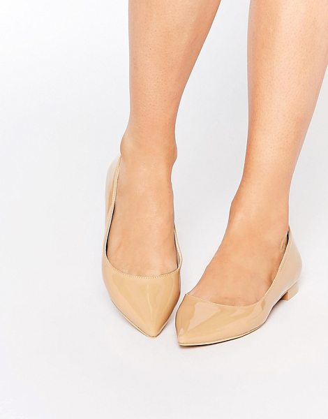 Asos Lost pointed ballet flats in nude - Flat shoes by ASOS Collection Leather-look upper Glossy...