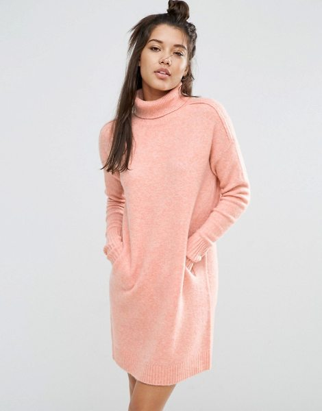 Asos LOUNGE Sweater Dress in Cocoon Shape with High Neck in pink - Knit dress by ASOS Collection, Soft-touch knit, High...