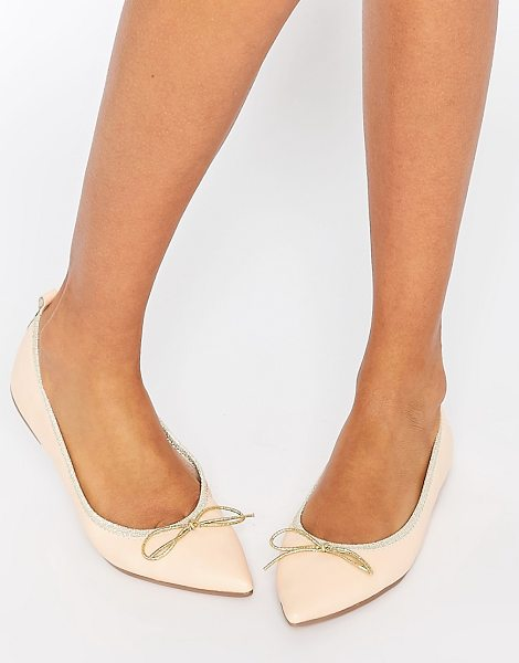 Asos Lulu pointed elasticated ballet in apricot - Ballet pumps by ASOS Collection Faux-leather upper...