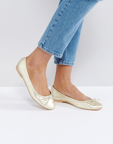 Asos LUNA Leather Ballet Flats in gold - Flat shoes by ASOS Collection, Metallic leather upper,...