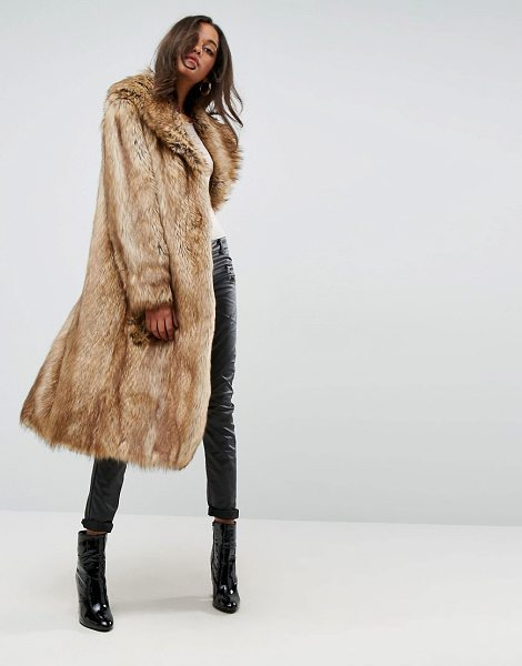 Asos Luxe Maxi Coat in Faux Fur in brown - Coat by ASOS Collection, Soft-touch faux-fur fabric,...