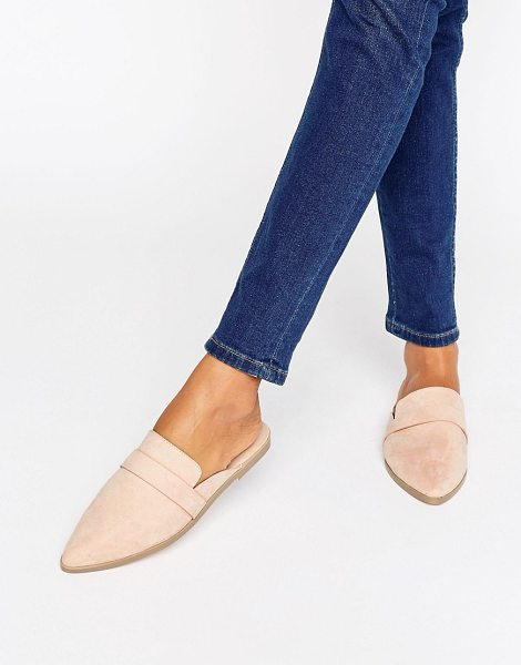 Asos MAGGIE Flat Mules in beige - Flat shoes by ASOS Collection, Faux-suede upper, Slip-on...