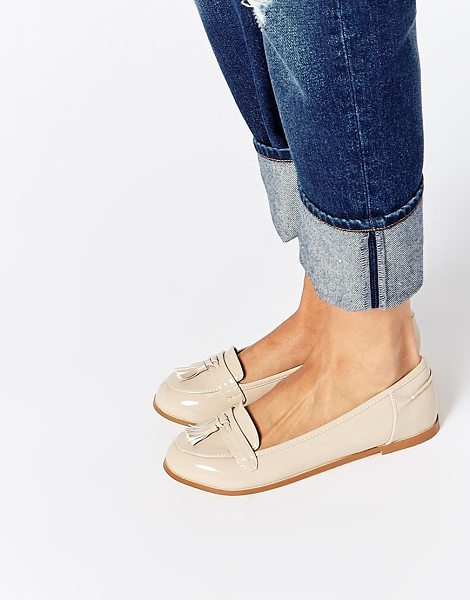 Asos Magician loafers in stone - Shoes by ASOS Collection Leather-look upper Glossy...