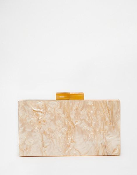 Asos Marble Box Clutch Bag in pink - Clutch bag by ASOS Collection, Marble effect outer, Hard...