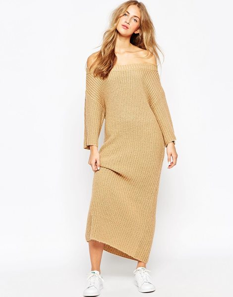 Asos Maxi dress in rib with off shoulder in camel - Knit dress by ASOS Collection, Heavyweight, chunky w...