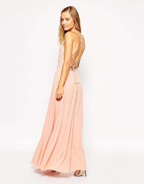 "ASOS DESIGN asos maxi dress with tie back in nude - """"Dress by ASOS Collection, Mid-weight woven fabric,..."