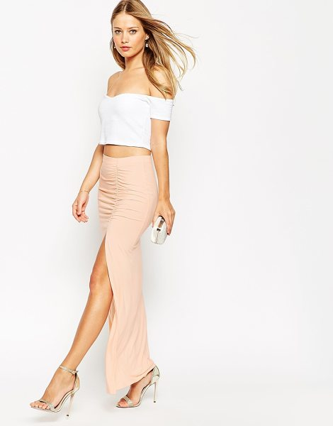 ASOS Maxi Skirt With Ruched Side And Side Split - Maxi skirt by ASOS Collection, Stretch jersey, Stretch,...