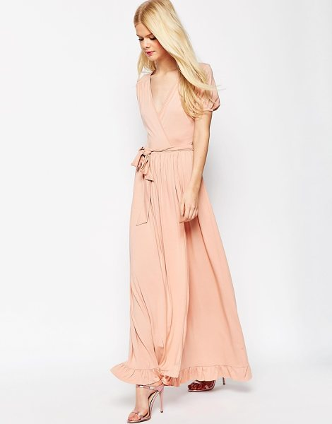 ASOS Maxi Tea Dress With Wrap Front in pink - Maxi dress by ASOS Collection, Soft-touch stretch...