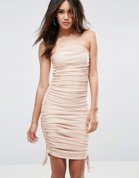 Asos Mesh Ruched Bandeau Midi Bodycon Dress With Ties in beige - Bodycon dress by ASOS Collection, Ruched mesh, Bandeau...