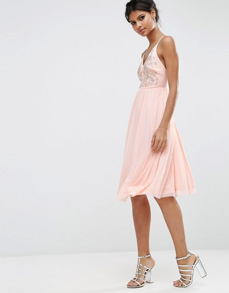 "Asos Mesh Skirt Embellished Hotfix Midi Prom Dress in pink - """"Dress by ASOS Collection, Soft-touch woven fabric,..."