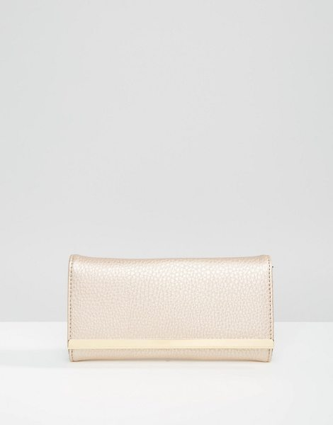 Asos Metal bar detail purse in rose gold - Wallet by ASOS Collection Faux leather outer Fold-over...