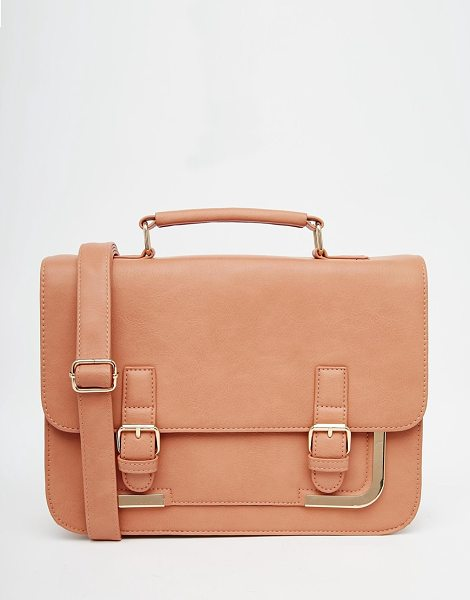 Asos Metal corner satchel bag in dusty pink - Cart by ASOS Collection Faux leather Gold-tone hardware...
