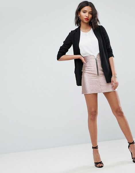 "Asos Metallic Mini Skirt with Zip Detail in rosegold - """"Mini skirt by ASOS Collection, Lightweight crisp woven..."