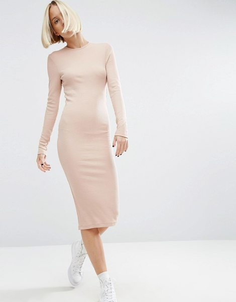 """Asos Midi Bodycon Dress in Rib with Long Sleeves in pink - """"""""Dress by ASOS Collection, Stretch ribbed jersey, Round..."""