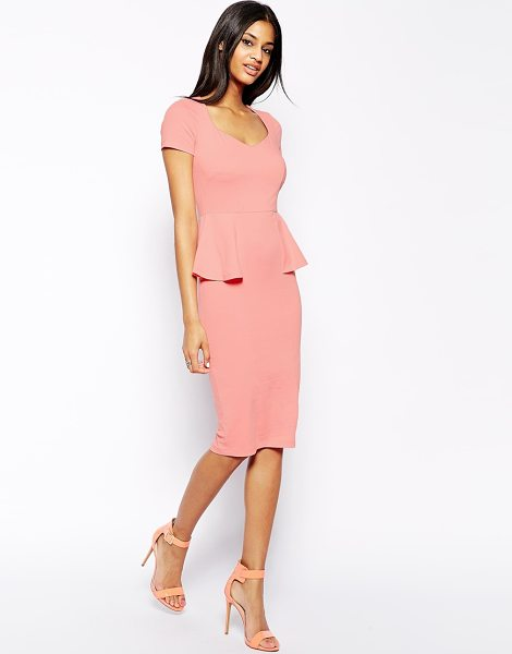 Asos Midi body-conscious dress with sweetheart neck and peplum in pink - Machine Wash According To Instructions On Care Label....