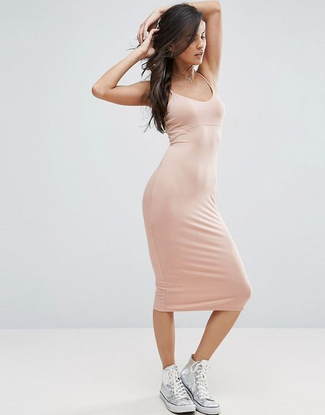 Asos Midi Cami Bodycon Dress in pink - Bodycon dress by ASOS Collection, Stretch jersey, Scoop...
