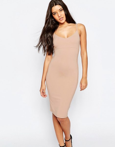 """Asos Midi Cami Bodycon Dress in pink - """"""""Bodycon dress by ASOS Collection, Stretch jersey,..."""