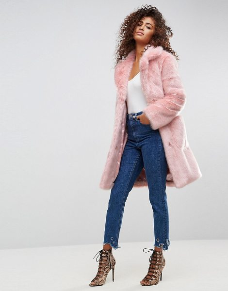 "ASOS DESIGN ASOS Midi Coat in Plush Faux Fur in pink - """"Coat by ASOS Collection, Soft-touch faux-fur, Fully..."