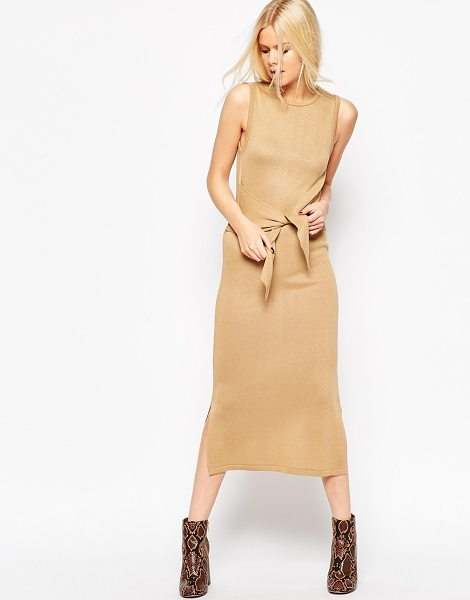 ASOS Midi Dress In Knit With Tie Front Detail in stone - Knit dress by ASOS Collection, Fine knit, Round...