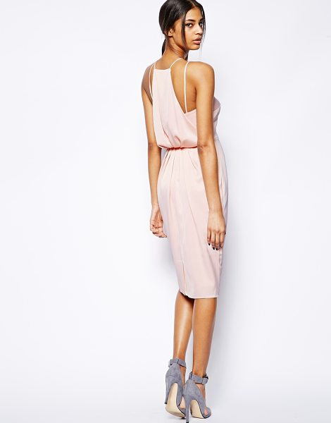 Asos Midi dress with drape back pencil in pink - Midi dress by ASOS Collection Made from an easy-care,...
