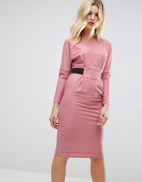"""ASOS DESIGN ASOS Midi Dress With Elastic Waist Detail in blush - """"""""Dress by ASOS Collection, Lightly-textured stretch..."""