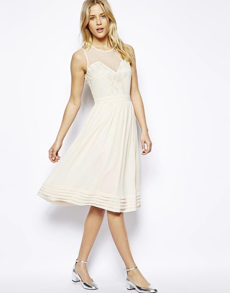 Asos Midi dress with lace inserts in cream - Midi dress by ASOS Collection Made from a breathable...