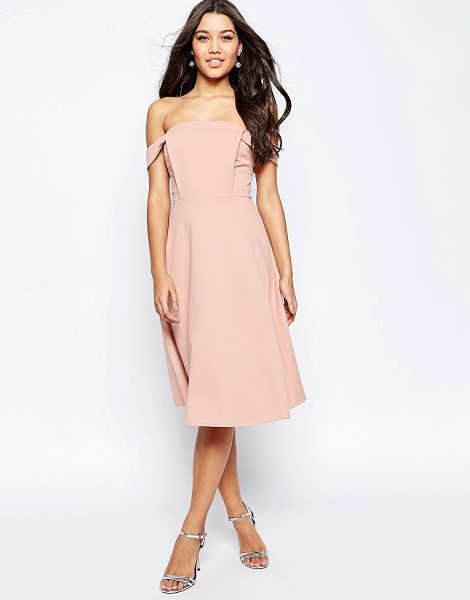 """Asos Midi Dress with Off Shoulder and Full Skirt in pink - """"""""Dress by ASOS Collection, Textured knitted fabric,..."""
