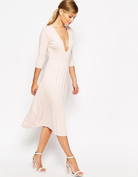 Asos Midi dress with sexy plunge in pink
