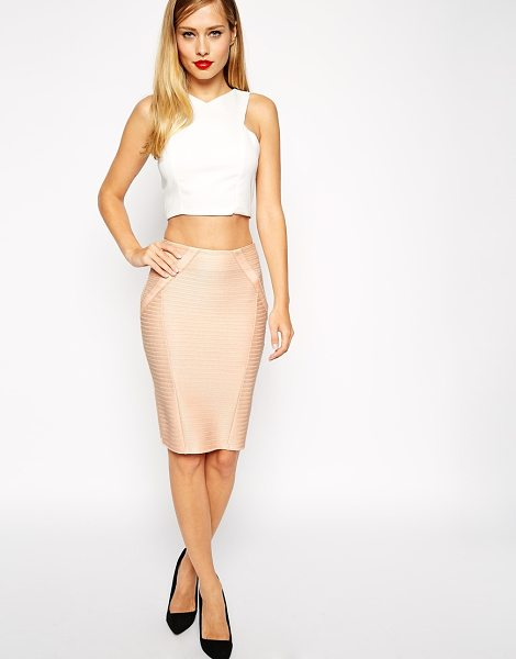 Asos Pencil skirt in bandage rib in nude - Pencil skirt by ASOS Collection Firm-stretch, ribbed...