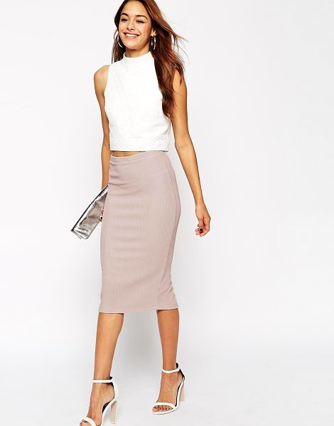 ASOS Midi Pencil Skirt in Heavy Rib - Midi skirt by ASOS Collection, Ribbed stretch fabric,...
