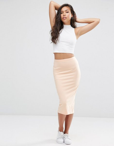 Asos Midi pencil skirt in jersey in pink - Midi skirt by ASOS Collection, Stretch cotton jersey,...