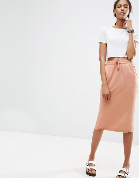 "ASOS DESIGN ASOS Midi Pencil Skirt in Sweat with Drawstring Waist in salmon - """"Midi skirt by ASOS Collection, Soft sweat, Drawstring..."