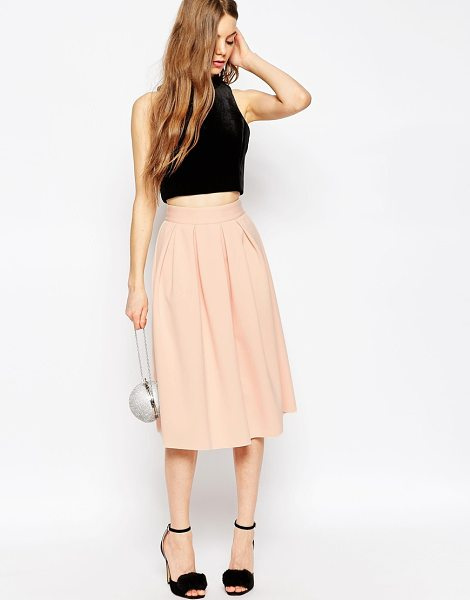 "Asos Midi Prom Skirt in Scuba in beige - """"Midi skirt by ASOS Collection, Mid-weight scuba-style..."