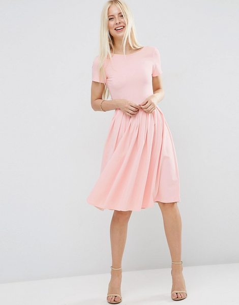 Asos Midi Pleated Skater Dress with Scoop Back in pink - Skater dress by ASOS Collection, Soft-touch jersey, Boat...