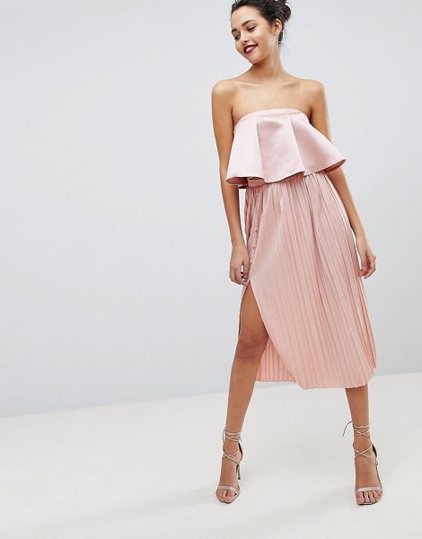 ASOS Midi Pleated Skirt with Side Button Detail - Midi skirt by ASOS Collection, Take that dress code up a...