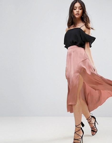 "ASOS Midi Satin Skirt with Splices and Seam Detail - """"Midi skirt by ASOS Collection, Smooth and lightweight..."