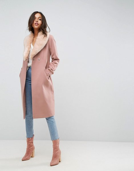 "Asos Midi Skater Coat with Luxe Faux Fur Trim in pink - """"Coat by ASOS Collection, Soft woven fabric, Fully..."