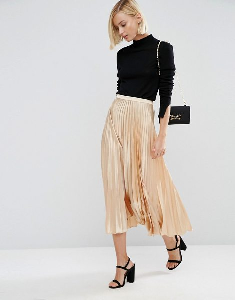 """Asos Midi Skirt in Pleated Satin in cream - """"""""Skirt by ASOS Collection, Satin-style fabric,..."""