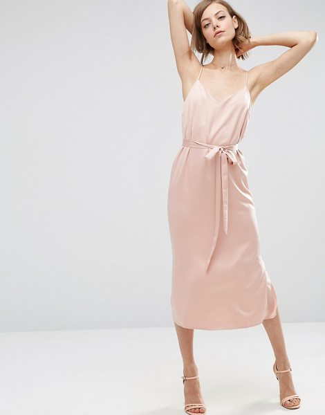 """Asos Midi Slip Dress in Satin With Tie Waist in pink - """"""""Midi dress by ASOS Collection, Lightweight satin,..."""