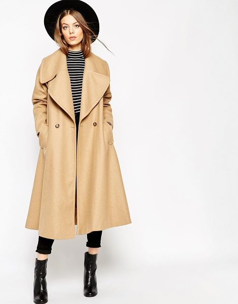 Asos Midi Swing Trapeze Coat with Extreme Collar in stone - Coat by ASOS Collection, Wool-rich fabric, Oversized...