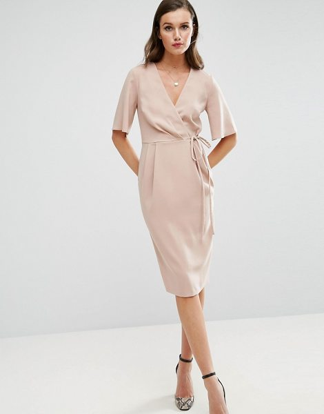 "Asos Midi Wrap Dress with Tie Detail in pink - """"Midi dress by ASOS Collection, Smooth stretch fabric,..."