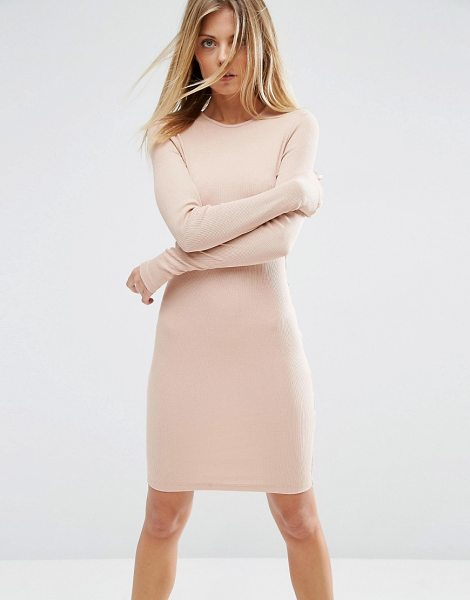 "Asos asos mini bodycon dress in nude - """"Dress by ASOS Collection, Ribbed jersey, Round..."