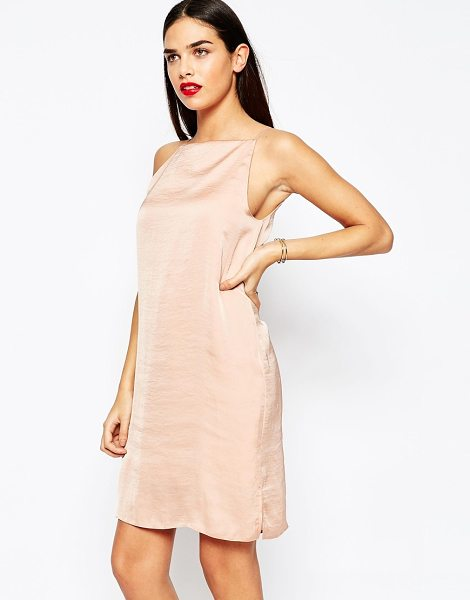 Asos Mini cami slip dress in hammered satin in pink - Dress by ASOS Collection, Woven satin, Square neckline,...