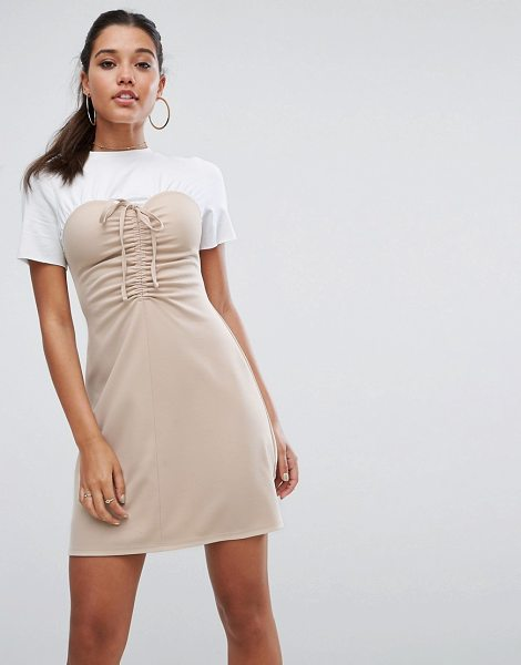 ASOS DESIGN mini dress with ruched bodice in nude