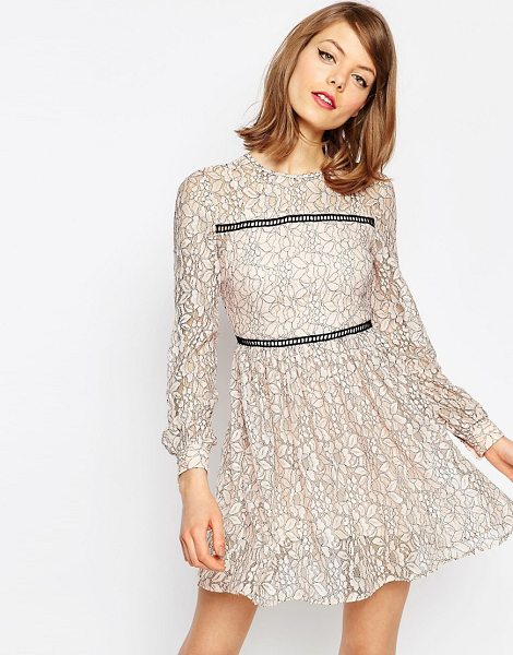 Asos Mini Lace Skater Dress With Ladder Trim in pink - Casual dress by ASOS Collection, Lace mesh fabric,...
