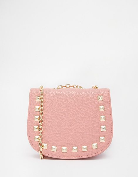 Asos Mini saddle cross body bag with studs in pink - Cart by ASOS Collection Textured leather-look fabric...