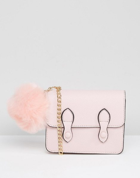 "ASOS Mini Satchel Bag With Detachable Pom - """"Bag by ASOS Collection, Textured faux leather, Gold..."