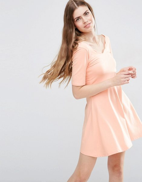 Asos Mini Skater Dress With Scallop Neckline in pink - Skater dress by ASOS Collection, Stretch jersey,...